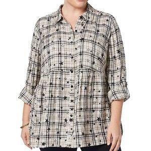 Style&Co Blouse Button Down Shirt Star Plaid Top